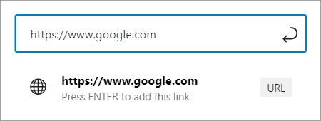 Hyperlink to Google